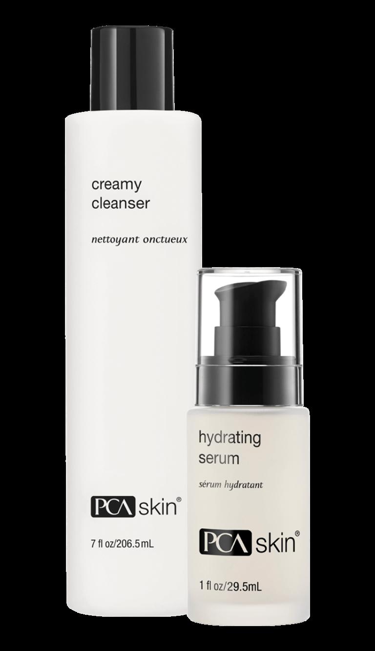 Creamy Cleanser (7 fl oz/206.5mL bottle); Hydrating Serum (1 fl oz/29.5mL bottle)