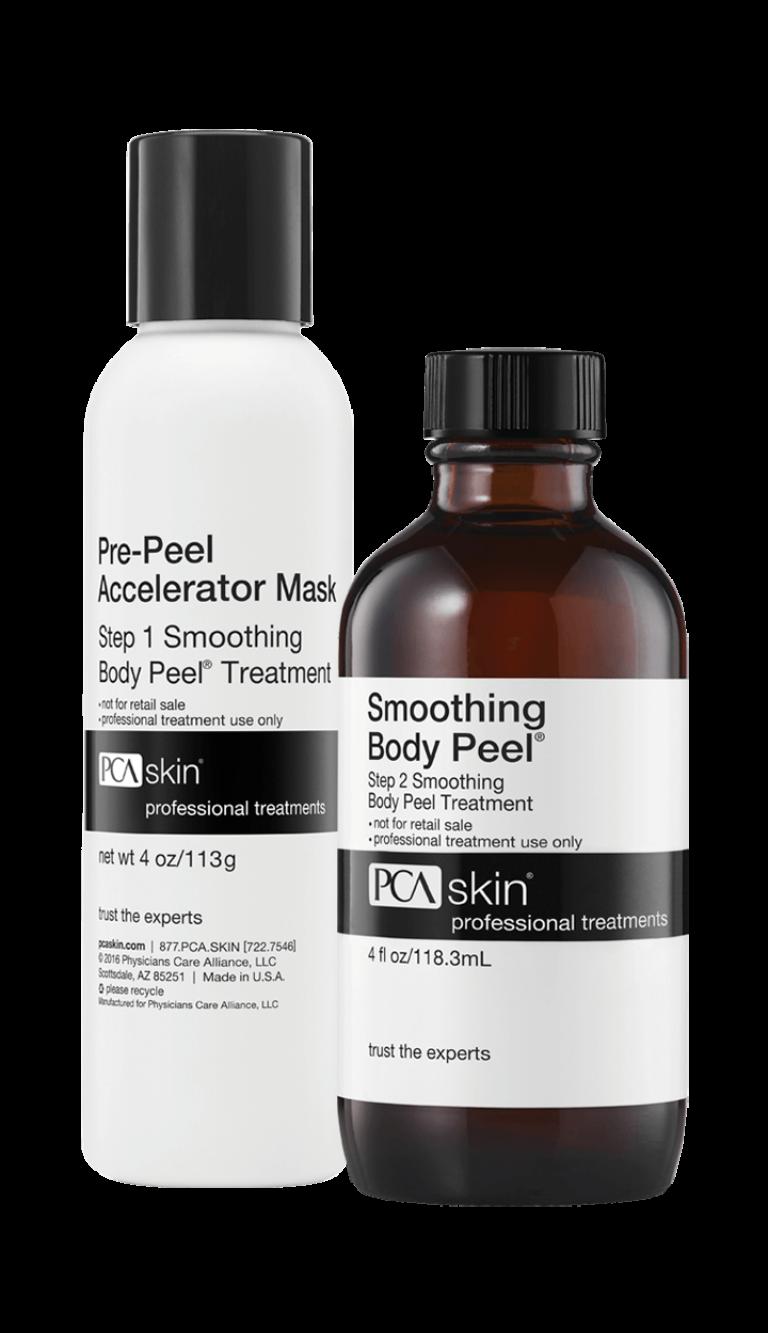 Pre-Peel Accelerator Mask - Step 1 Smoothing Body Peel® Treatment (net wt 4 oz/113g bottle); Smoothing Body Peel® - Step 2 Smoothing Body Peel Treatment (4 fl oz/118.3mL bottle)