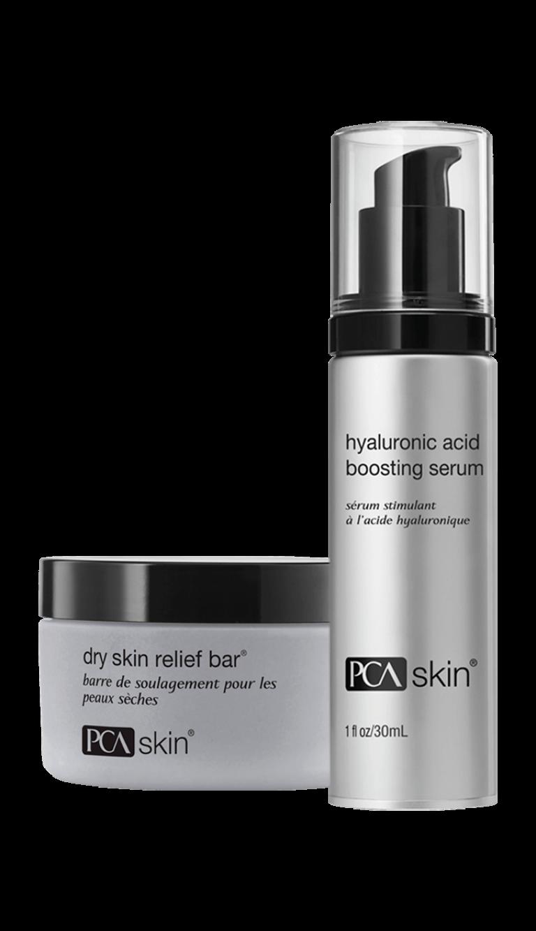 Dry Skin Relief Bar® (jar); Hyaluronic Acid Boosting Serum (1 fl oz/30mL bottle)
